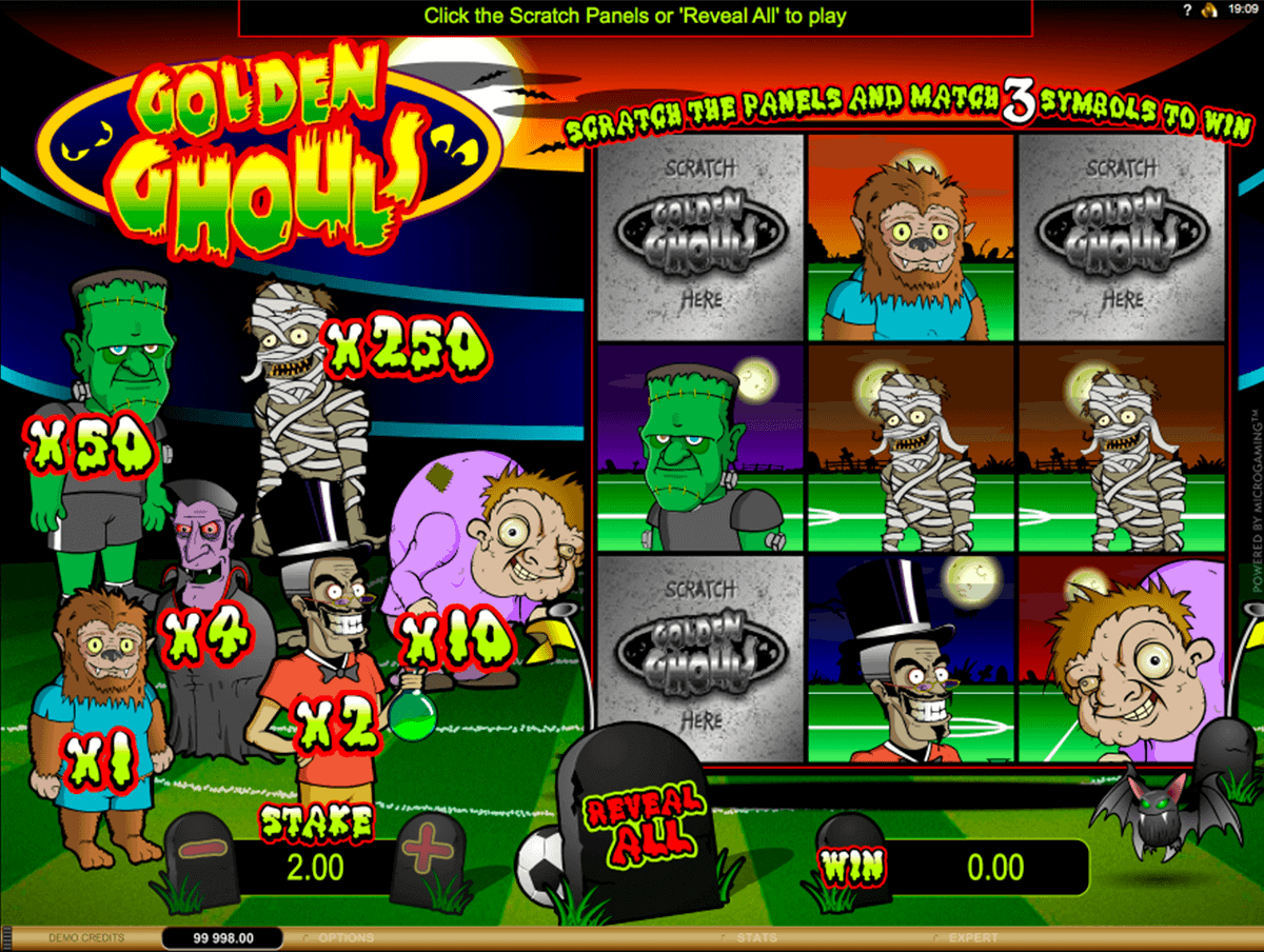 golden ghouls microgaming scratch cards