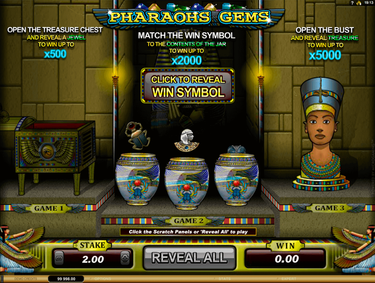 pharoahs gems microgaming scratch cards